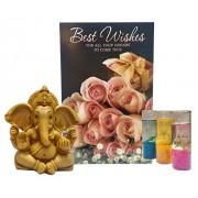 Saugat Traders Diwali Gift Set - Best Wishes Greeting Card, Ganesh Ji Showpiece As Good Luck & Decorative Gel Candles