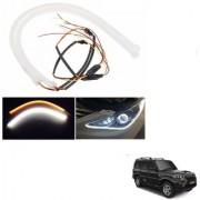 Auto Addict 2PCS 60cm (24 ) Car Headlight LED Tube Strip Flexible DRL Daytime Running Silica Gel Strip Light DC 12V Soft Tube Lamp Fancy Light (Yellow White) For Mahindra New Scorpio
