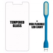 BR Tempered Glass Screen Protector with 0.3mm Ultra Slim 9H Hardness 2.5D Round Edge for Moto E3 Power + USB LED Light