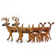 "Attatoy White-Tailed Deer Family Figurines (6-Figure Set); 2 Bucks, 2 Does, 2 Fawns 2 to 4"" Tall"