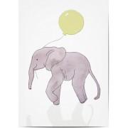 Optimalprint Fotoposter barn, 1 st, djur, ballong, elefant, sjukvård, målad, affisch, akvarell, grå, gul, barn, Optimalprint