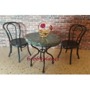 Set masa blat din marmura cu 2 scaune gradina- miniaturi papusi