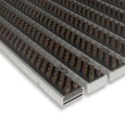 Hnědá hliníková čistící kartáčová venkovní vstupní rohož Alu Super - 100 x 100 x 1,7 cm (80000742) FLOMAT
