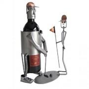 Metal Art Golfer Putting w/Caddy Wine Caddies【ゴルフ その他のアクセサリー>ホーム/オフィス】