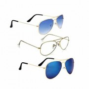 Magjons Fashion Combo Of Blue Clear Dark blue Aviator Sunglasses