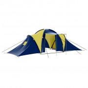 vidaXL Палатка за къмпинг за 9 човека от полиестер, синьо и жълто