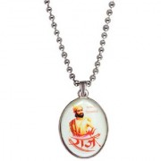 Men Style Chhatrapati Shivaba Raje Maharaj Multicolor Stainless Steel Oval Pendent For Men And Women