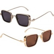 Rylie Retro Square Sunglasses(Black, Brown)
