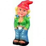 Merkloos Tuinkabouter blonde vrouw 33 cm