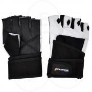 Fitnes rukavice Xplorer bele-koža, XL