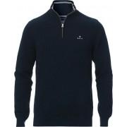 GANT Cotton Pique Half-Zip Sweater Evening Blue