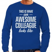 Bellatio Decorations Awesome Colleague / collega kado sweater blauw voor heren 2XL - Feesttruien