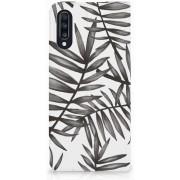 Telefoon hoesje Samsung Galaxy A70 Bookcase Leaves Grey