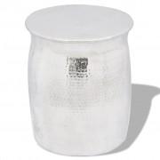 vidaXL Кован алуминиев стол / странична маса, сребрист