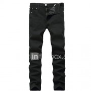 Heren Eenvoudig Medium taille Recht Slank Hoge Elasticiteit Slank Jeans BroekEffen
