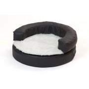 Hundebett, Hundekorb rund klein - schwarz mit Decke weiss