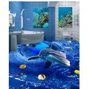 Zjxxm Custom photo wallpaper for walls 3 d flooring mural wallpapers HD 3D Ocean World Dolphin Floor Painting mural Wall Stickers-200cmx140cm