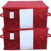 Kuber Industries Metalic Floral Underbed Storage Bag,Storage Organiser,Blanket Cover Set of 2 Pc - CTKNEW363 CTKNEW0363(Maroon)
