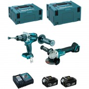 MAKITA Kit DLX2130MJ1 (DGA504 + DHP481 + 2 x 4,0 Ah + DC18RC + MAKPAC 2