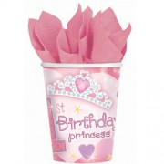 Planet Jashn 1st Birthday Girl Princess Cups 9oz, Multi Color (18 Count)
