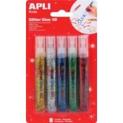Lipici cu sclipici Apli, culori metalice, 5 culori/set