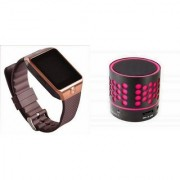Mirza DZ09 Smartwatch and S10 Bluetooth Speaker for SAMSUNG GALAXY CORE PRIME 4G(DZ09 Smart Watch With 4G Sim Card Memory Card| S10 Bluetooth Speaker)