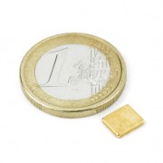 Magnet neodim bloc, 7x6x1,2 mm, putere 600 g, placat aur