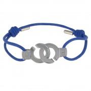 Les Poulettes Bijoux Bracelet Lien Argent Menottes - Colors - Bleu
