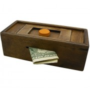 Puzzle Box Enigma Secret Discovery - Money or Gift Card Trick Box Piggy Bank Brainteaser Wooden Secret Compartment Brain Game