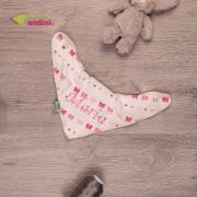 Bandană tip Bavețică Bebe Personalizată Ivory - Pink Bows