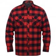 vidaXL Overhemd rood-zwart geblokt gevoerd flanel maat L