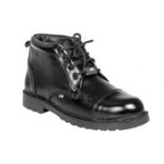 JK Port Black Faux Leather Steel Toe Safety Shoe Boots For Men(Black)