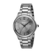 【56%OFF】ラウンドウォッチ デイト ステンレスベルト フェイス:グレー ベルト:シルバー ファッション > 腕時計~~メンズ 腕時計