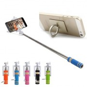 KSJ Combo of Selfie Stick With Aux Cable and Ring mobile holder (Assorted Colors)