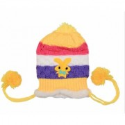 SOFT CUTE WARM Best Quality Woollen Tri-Color Cartoon Baby Cap For ( 0 - 1 Year Baby ) MULTICOLOR WINTER CAP