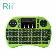 Rii RT-MWK08 + mini USB 2.0 2.4GHz inalambrico Teclado tactil de 92 teclas con raton de aire - verde