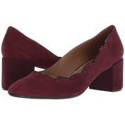 French Sole Couplet Heel Wine Suede