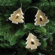 Ghirlanda Braduti LED Craciun 20 figurine lemn sclipici auriu alb cald interior