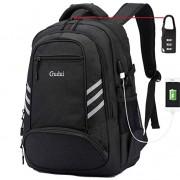 Gudui Slim Laptop Backpack, Waterproof College School Computer Backpack USB Charging Lock, Black Travel Bag for Men/Women for 15 15.6 Inch Laptop and