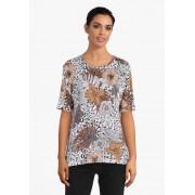 Bicalla Beige T-shirt met leopard- en bloemenprint