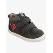 VERTBAUDET Leder-Sneakers für Jungen, Anziehtrick schwarz