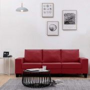 vidaXL 3-местен диван, виненочервен, текстил