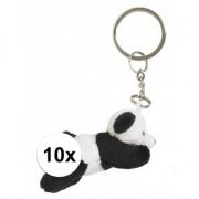 Merkloos 10x Pluche panda knuffel sleutelhangers 6 cm