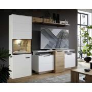 Lifestyle4Living Anbauwand 5-tlg. in weiß mit Absetzungen in Artisan Eiche Nachbildung, inkl. LED-Beleuchtung, Gesamtmaß: B/H/T ca. 250/199/50 cm