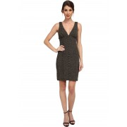 Nicole Miller Knit Scales Plunging Gold Party Dress Gold
