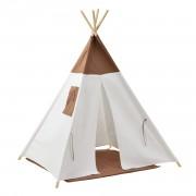 Детска шатра 150 x 120 x 120 cm , Бяла/Кафява, Полиестер