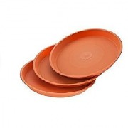 16 Inch Size Bottom Tray (for 20 inch Conical Shape Pot) Terracotta Color (Set of 5) - Minerva Naturals(16'' x 16'' x 2.