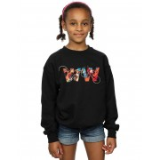 Absolute Cult DC Comics Girls Wonder Woman 84 Fighting Symbol Sweatshirt Noir 12-13 years