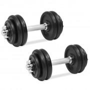 vidaXL Conjunto de halteres 18 pcs 30 kg ferro fundido