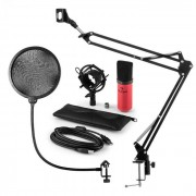 Auna MIC-900RD Juego de micrófono V4 USB Micrófono de condensador Protector antipop Brazo para micrófono rojo